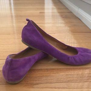 Rare purple Suede Jcrew ballet flats EUC